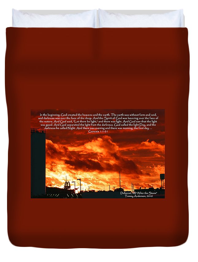 Scripture Duvet Cover featuring the photograph Genesis 1-1-31 by Tommy Anderson