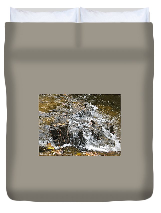 Waterfall Duvet Cover featuring the photograph Gentle Falls by Kelly Mezzapelle