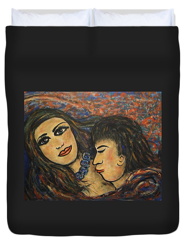 Canvas Prints Duvet Cover featuring the painting Gentle Loving Kiss by Natalie Holland