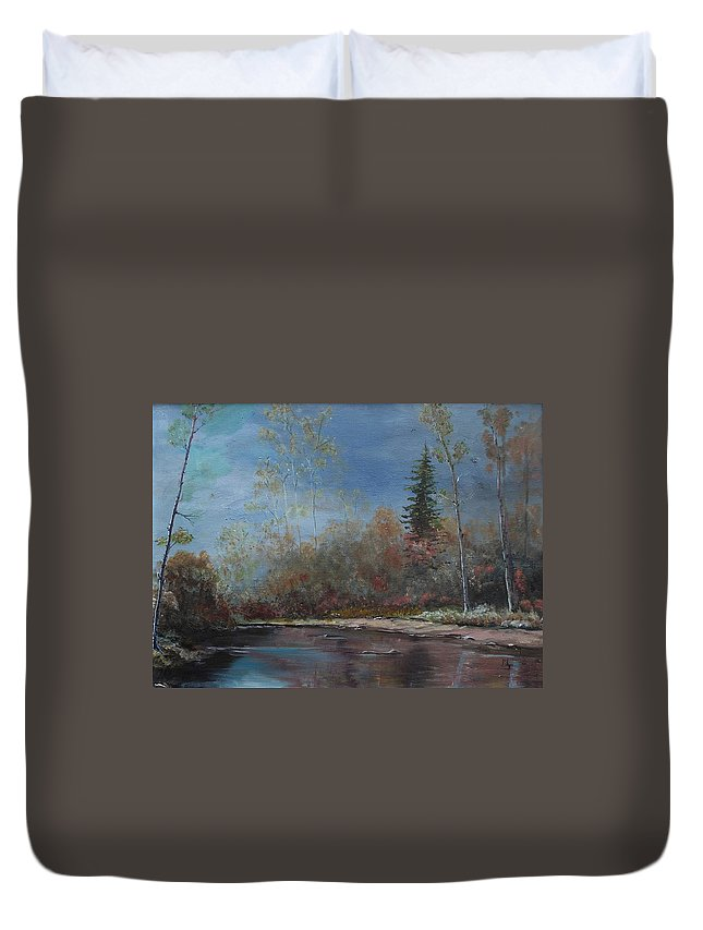 River Duvet Cover featuring the painting Gentle Stream - Lmj by Ruth Kamenev