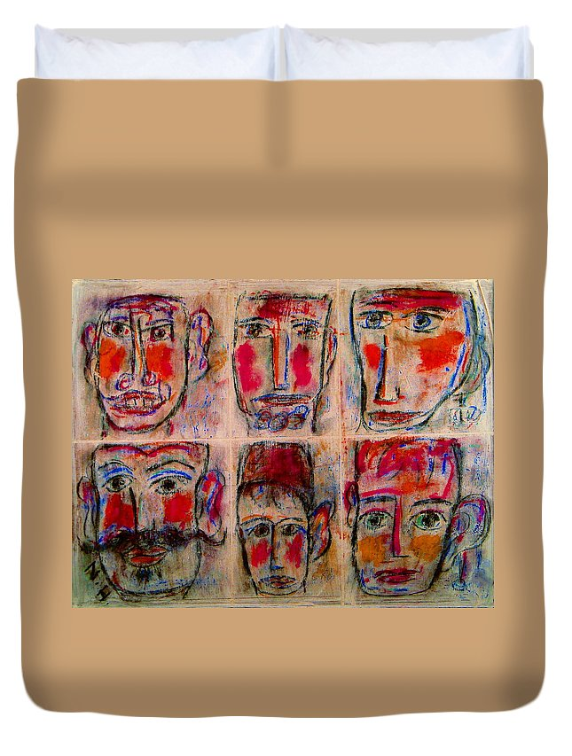 Expressionism Duvet Cover featuring the mixed media Gentlemen by Natalie Holland