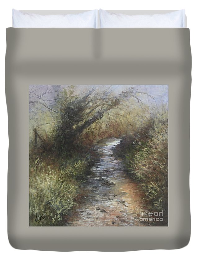 Stream Duvet Cover featuring the painting Gently Flowing by Valerie Travers