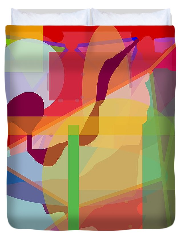 Abstract Duvet Cover featuring the painting Geo Frenzy by Pharris Art