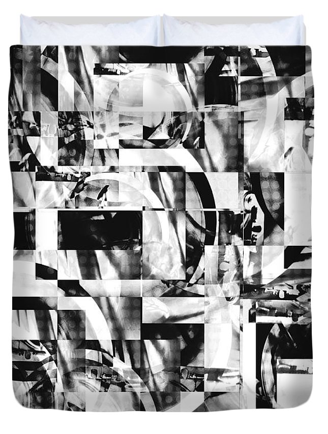 Black And White Duvet Cover featuring the photograph Geometric Confusion - Black And White by Shawna Rowe