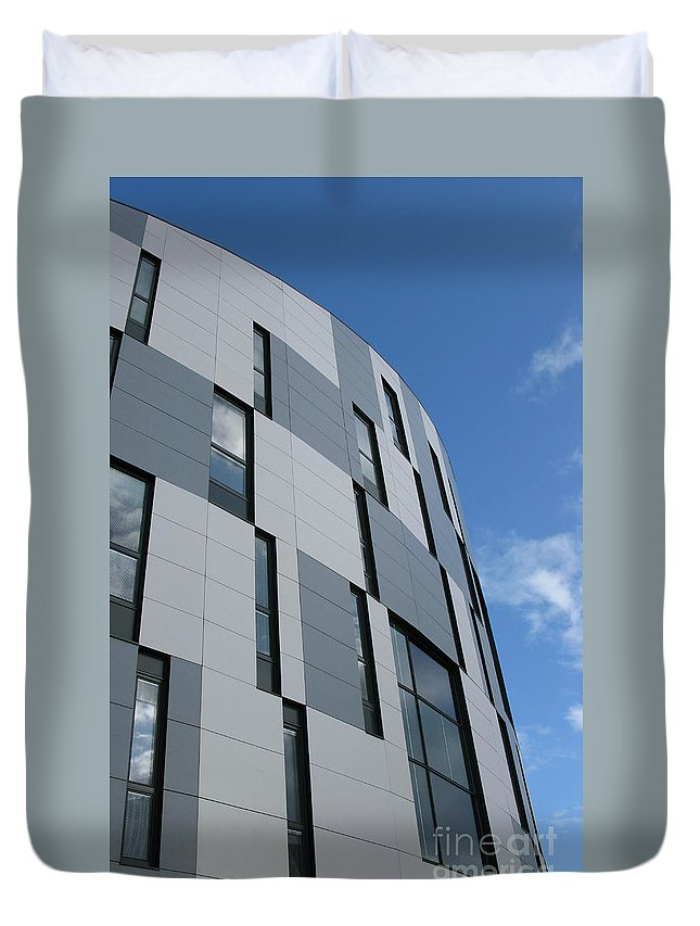 Architecture Duvet Cover featuring the photograph Geometric Intrigue by Ann Horn