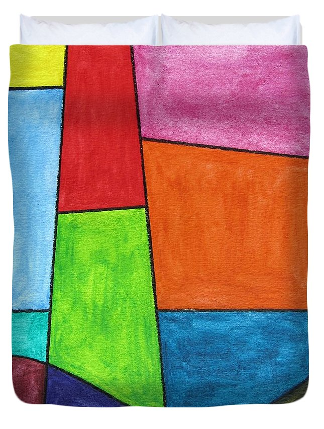 Duvet Cover featuring the digital art Geometric Lighthouse by Jeffrey Todd Moore