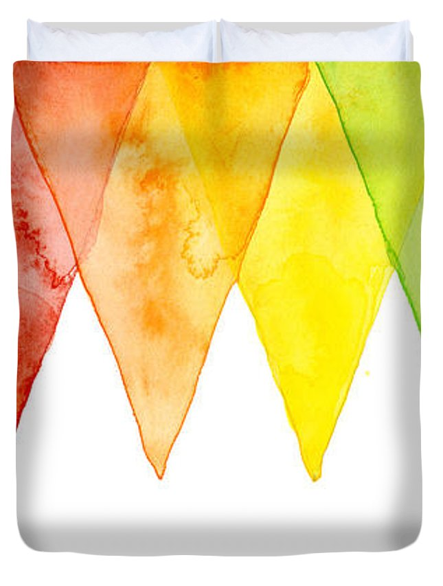 Geometric Duvet Cover featuring the painting Geometric Watercolor Pattern Rainbow Triangles by Olga Shvartsur