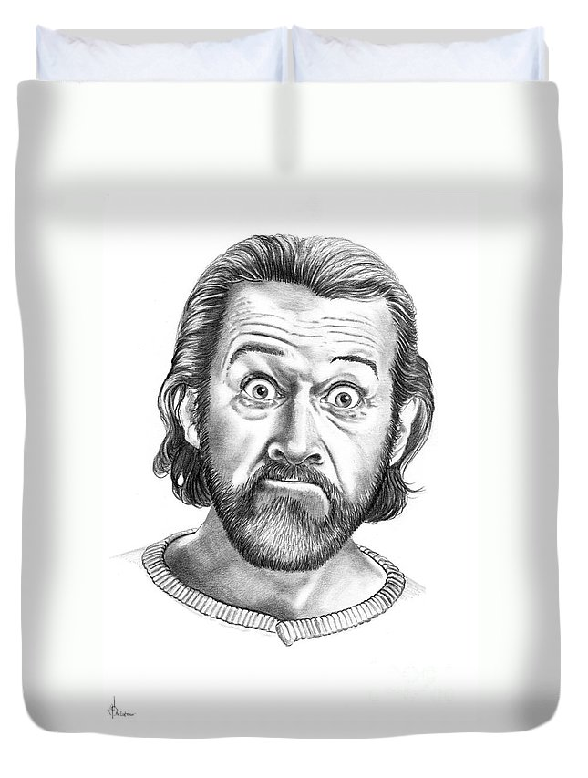 Portrait Duvet Cover featuring the drawing George Carlin by Murphy Elliott