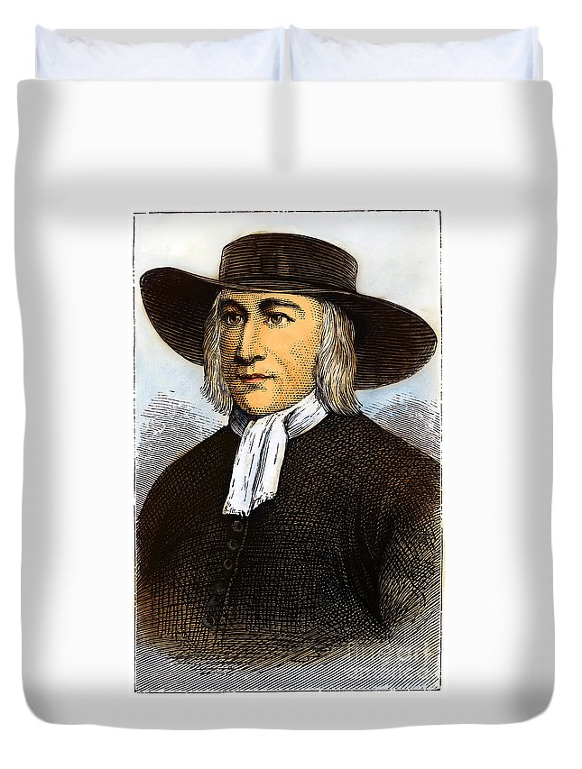 English Duvet Cover featuring the drawing George Fox, 1624-1691 by Granger