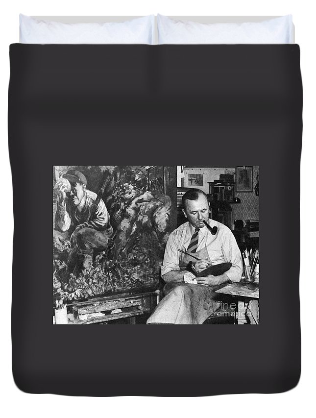 1944 Duvet Cover featuring the photograph George Grosz (1893-1959) by Granger