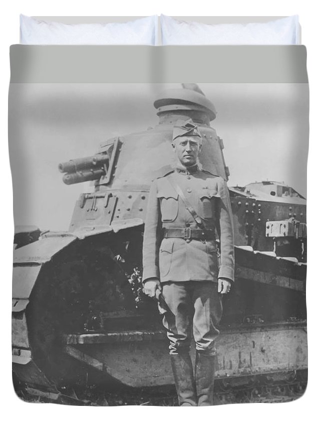 General Patton Duvet Cover featuring the painting George S. Patton During World War One by War Is Hell Store
