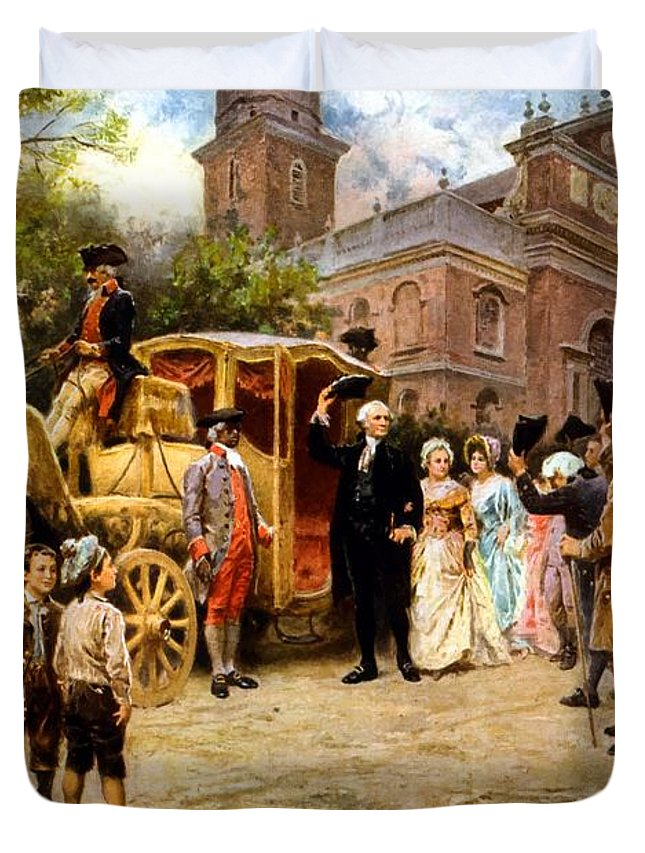George Washington Duvet Cover featuring the painting George Washington Arriving At Christ Church by War Is Hell Store