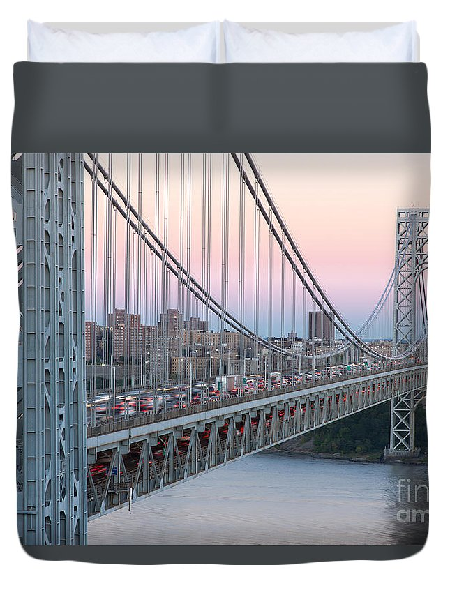 Clarence Holmes Duvet Cover featuring the photograph George Washington Bridge And Lighthouse I by Clarence Holmes