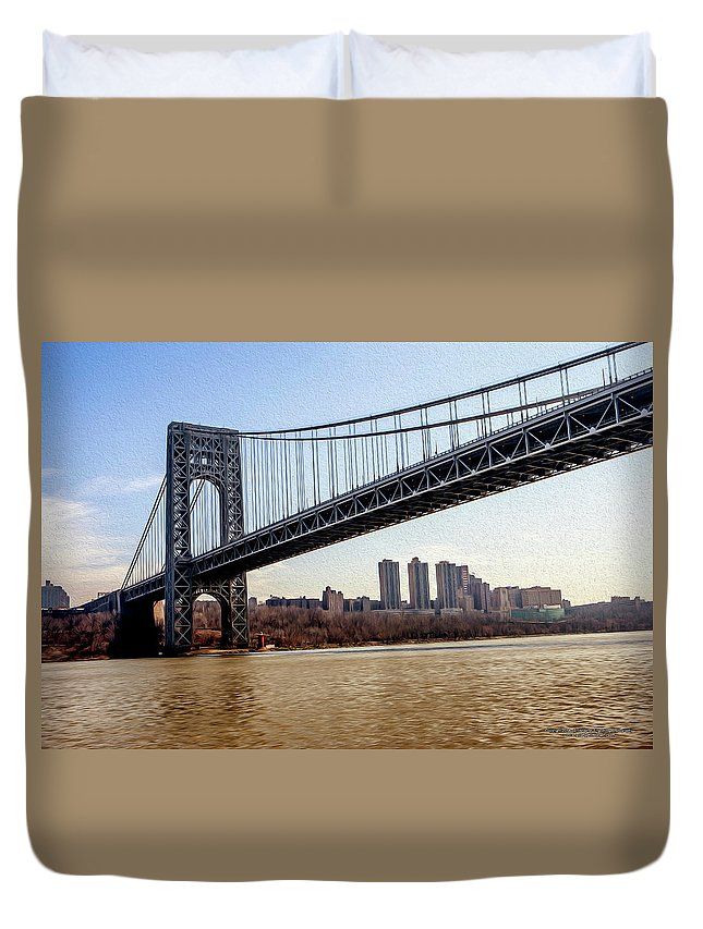 Bridge Duvet Cover featuring the digital art George Washington Bridge by Christopher Eng-Wong
