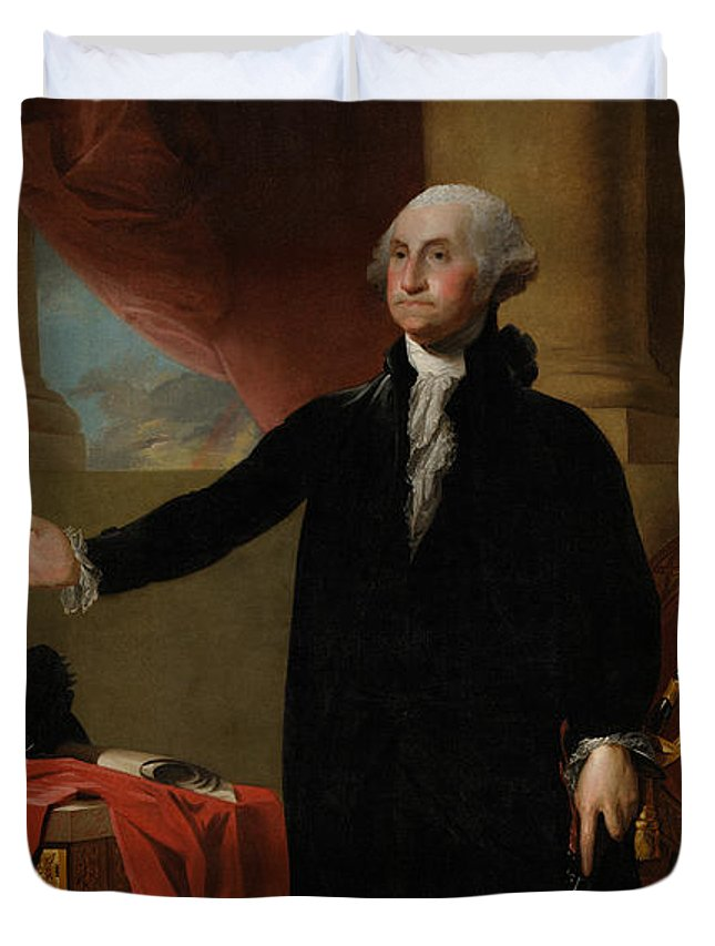 George Washington Duvet Cover featuring the painting George Washington Lansdowne Portrait by War Is Hell Store