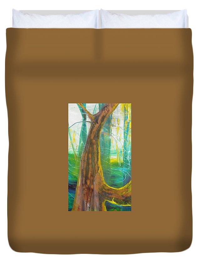 Landscape Duvet Cover featuring the painting Georgia Morning by Peggy Blood