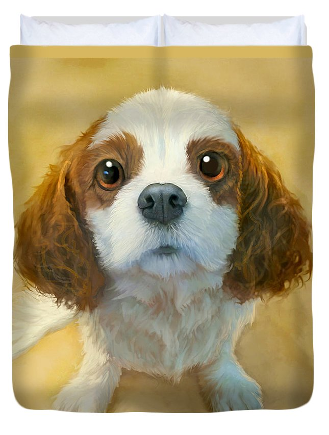 Dog Duvet Cover featuring the painting More than Words by Sean ODaniels