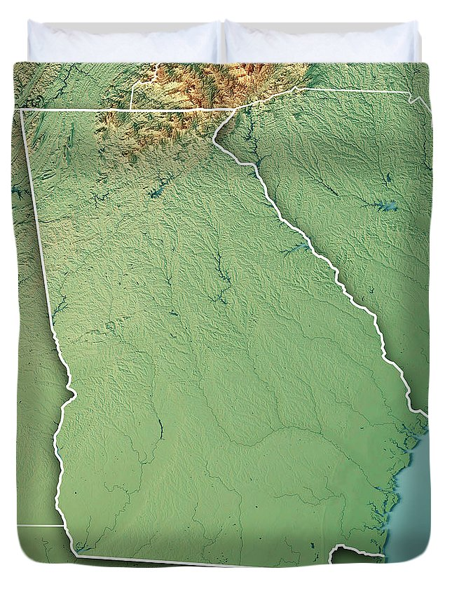 Georgia State Usa 3d Render Topographic Map Border Duvet Cover for ...
