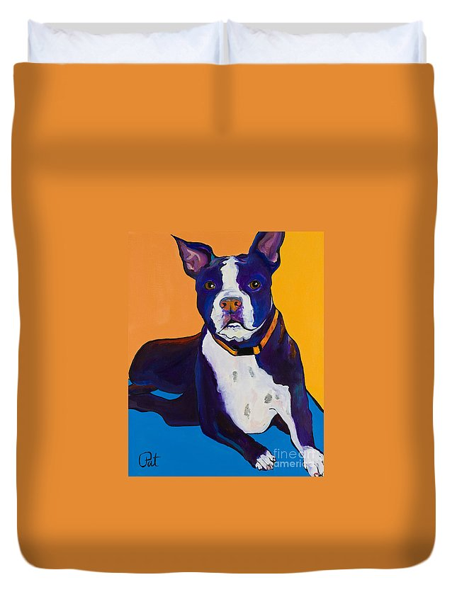 Boston Terrier Duvet Cover featuring the painting Georgie by Pat Saunders-White