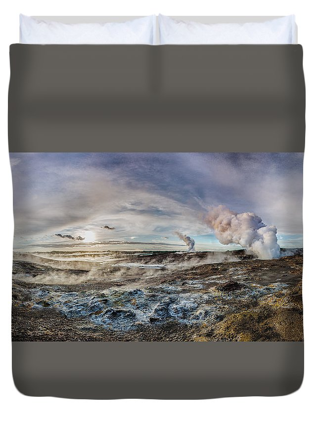 Geothermal Duvet Cover featuring the photograph Geothermal Sunsets by Sigurdur William Brynjarsson