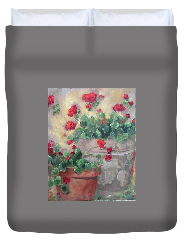 Geraniums Duvet Cover featuring the painting Geraniums by Ginger Concepcion