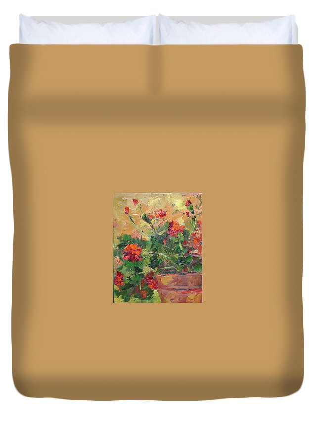 Geraniums Duvet Cover featuring the painting Geraniums II by Ginger Concepcion