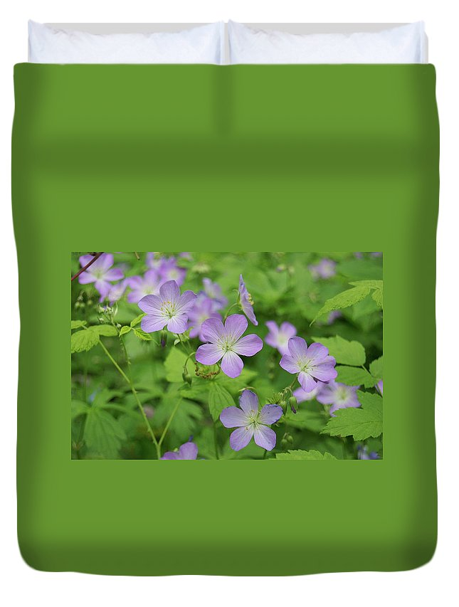 Flowers Duvet Cover featuring the photograph Geraniums Spring Wildflowers by Michael Peychich