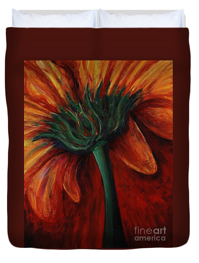 Gerbera Daisy.daisy Duvet Cover featuring the painting Gerbera Daisy by Nadine Rippelmeyer