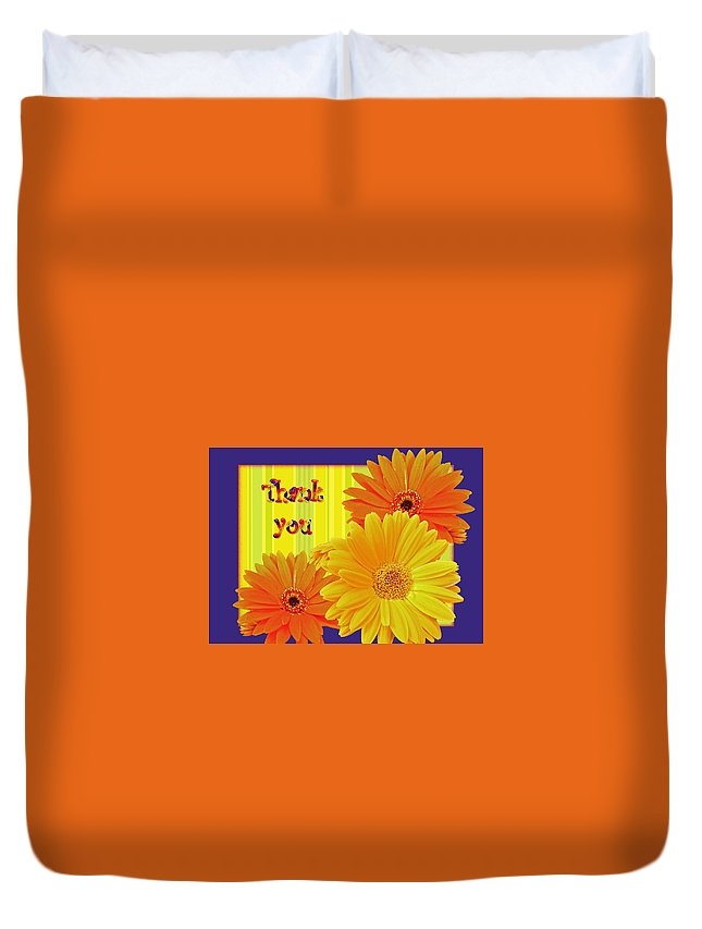 thank You Duvet Cover featuring the photograph Gerbera Daisy Thank You Card by Mother Nature