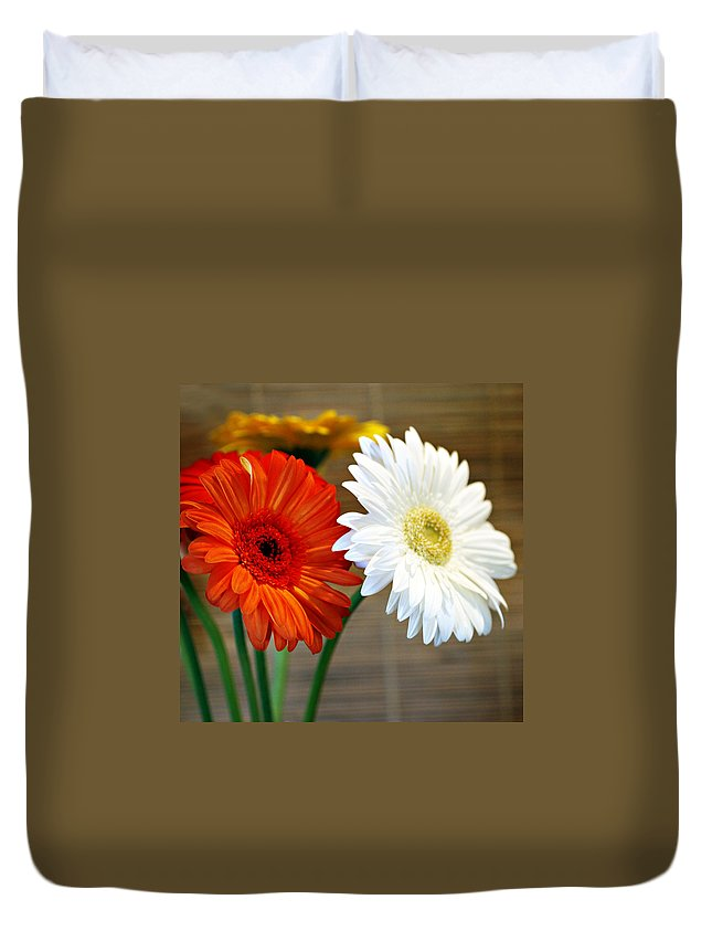 Flower Duvet Cover featuring the photograph Gerbers by Marilyn Hunt
