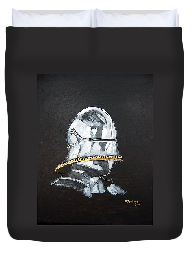 Armour Duvet Cover featuring the painting German Helmet by Richard Le Page