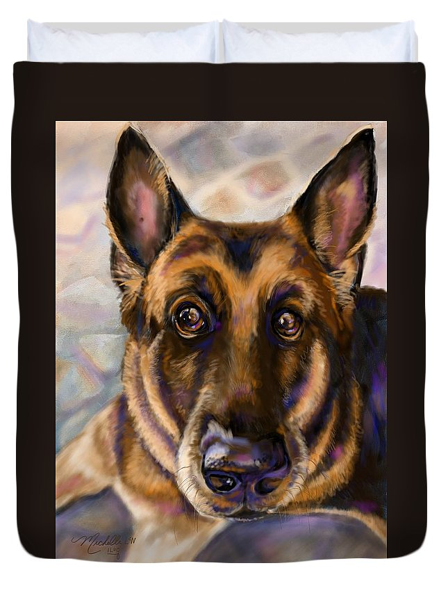 German Shepherd Portrait Duvet Cover featuring the digital art German by Michelle Cerrito-Nazzaro