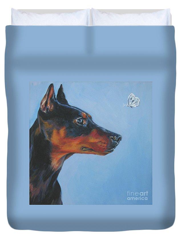 German Pinscher Duvet Cover featuring the painting German Pinscher by Lee Ann Shepard