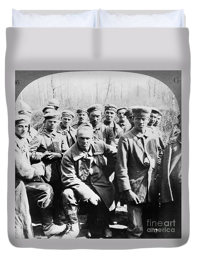 1918 Duvet Cover featuring the photograph German Prisoners Of War by Granger