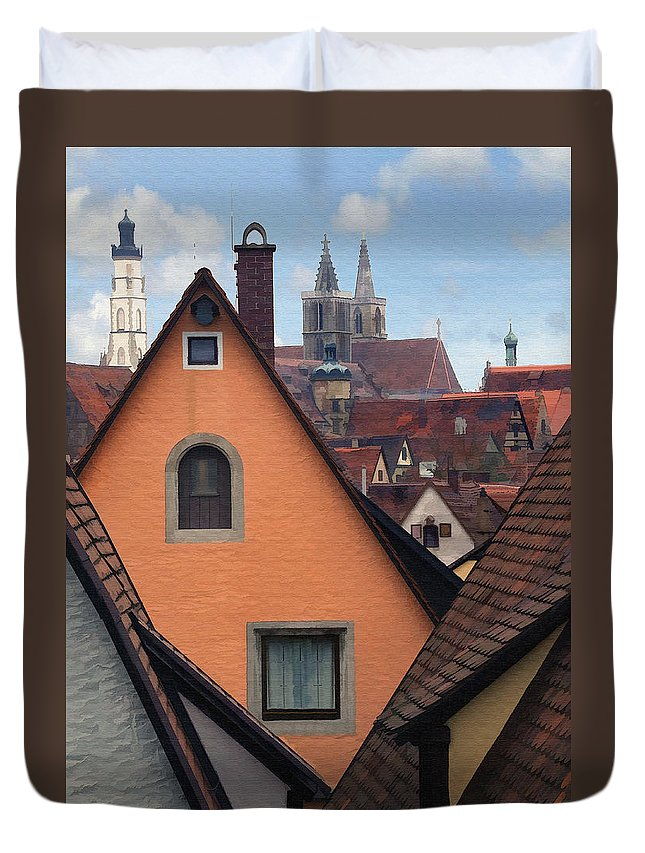 Architecture Duvet Cover featuring the photograph German Rooftops by Sharon Foster