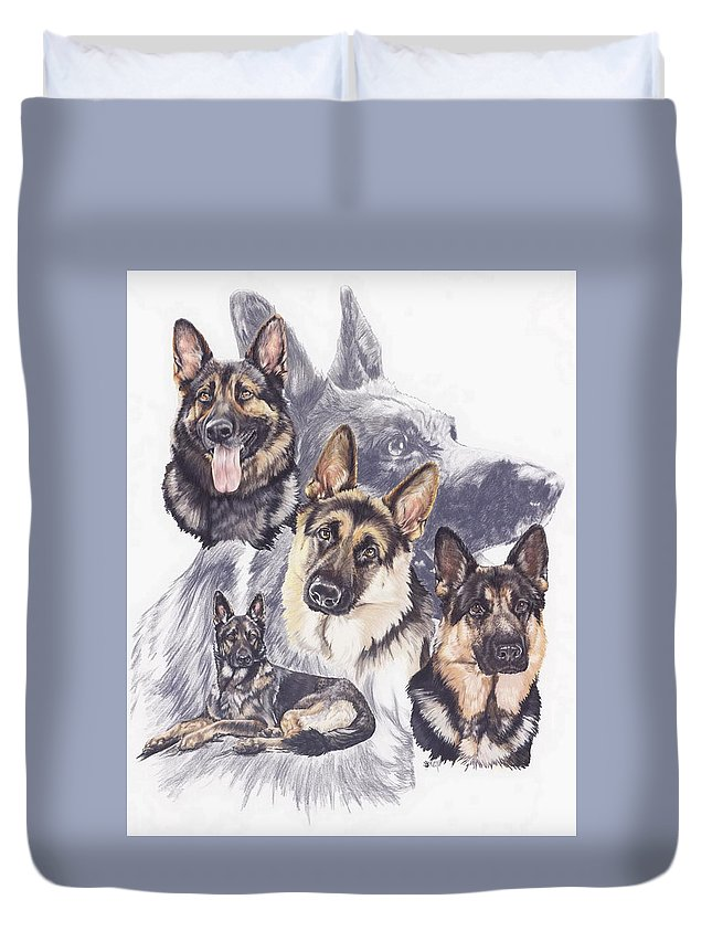 Purebred Duvet Cover featuring the mixed media German Shepherd W/ghost by Barbara Keith