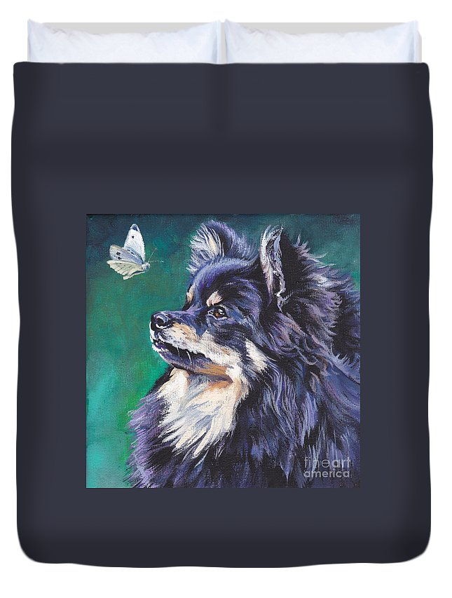 German Spitz Duvet Cover featuring the painting German Spitz by Lee Ann Shepard