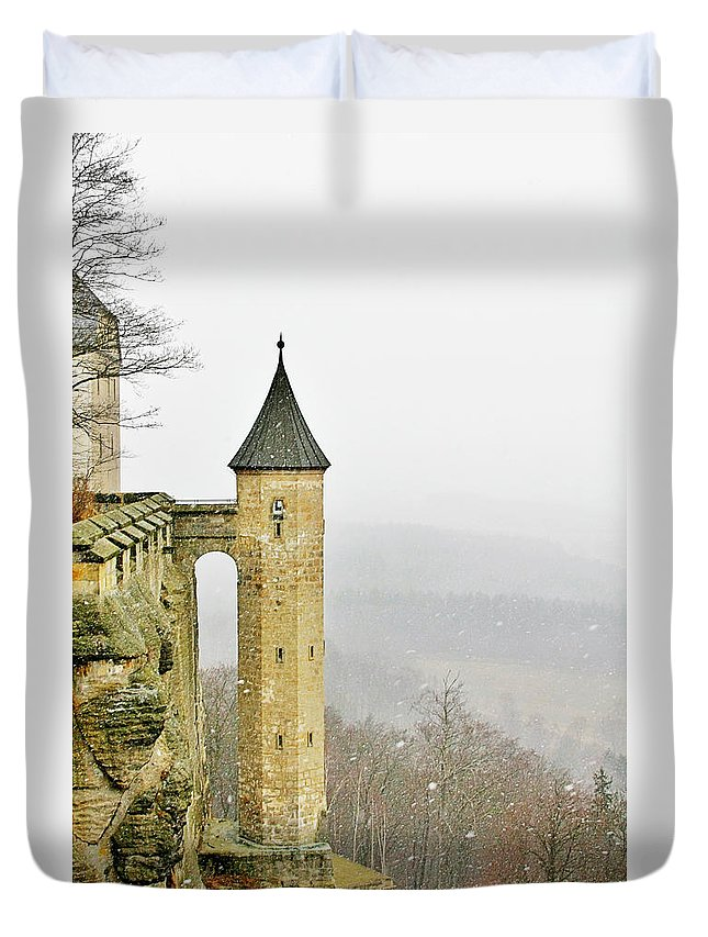 Fortresses Duvet Cover featuring the photograph Germany - Elbtal from Festung Koenigstein by Alexandra Till