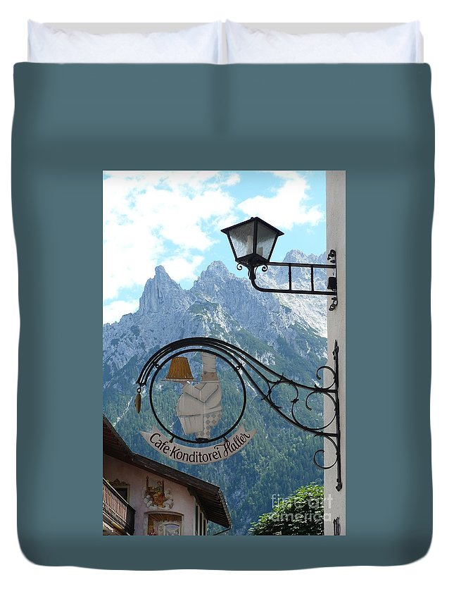 Bavarian Alps Duvet Cover featuring the photograph Germany - Cafe Sign by Carol Groenen
