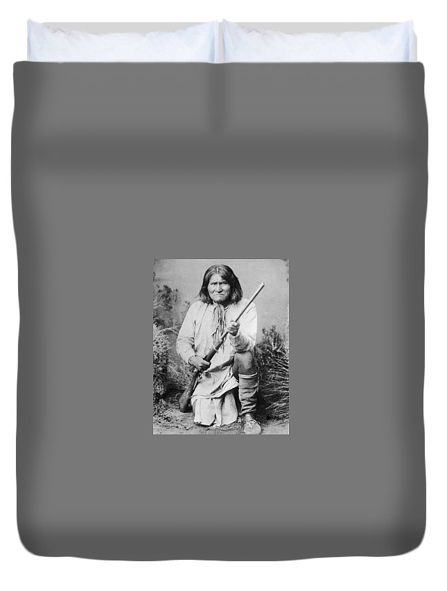 Geronimo Duvet Cover featuring the photograph Geronimo Apache Indian Native American by Peter Nowell