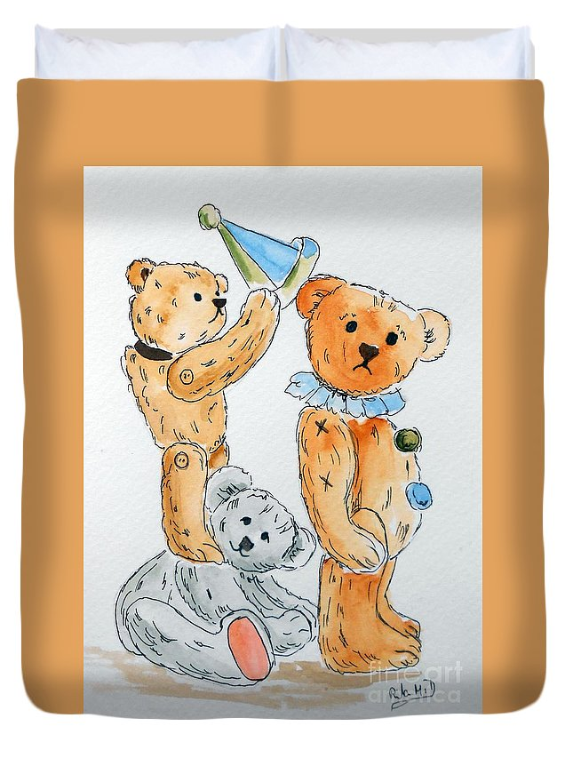Teddy Duvet Cover featuring the painting Get Ready Teddy by Rita Drolet