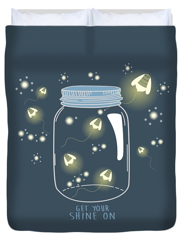 Get Your Shine On Duvet Cover featuring the digital art Get Your Shine On by Heather Applegate