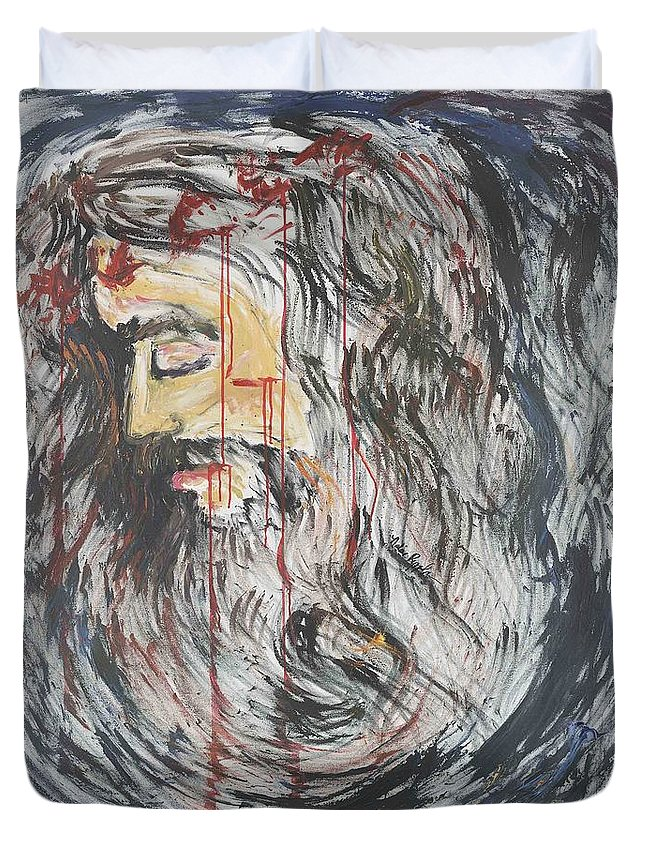 Jesus Duvet Cover featuring the painting Gethsemane To Golgotha IIi by Nadine Rippelmeyer
