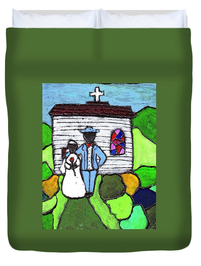 Folk Art Duvet Cover featuring the painting Getting Married Today by Wayne Potrafka