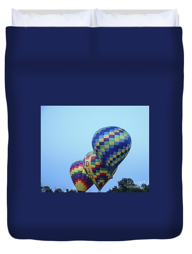 Hot Air Balloons Duvet Cover featuring the photograph Getting Off The Ground by Laura Deerwester