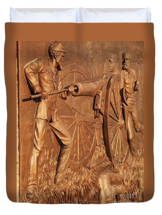 Gettysburg Duvet Cover featuring the photograph Gettysburg Bronze Relief by Eric Schiabor