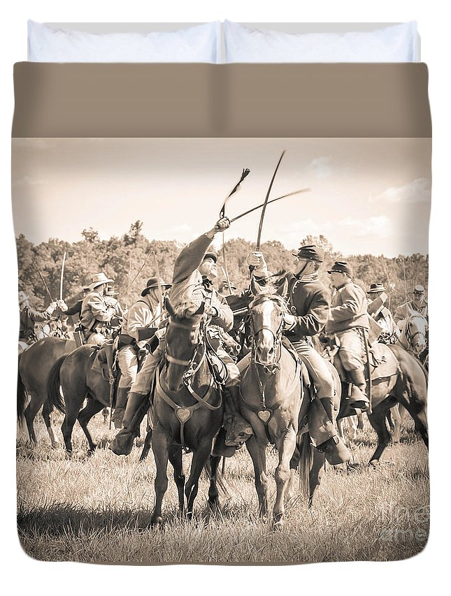 150th Duvet Cover featuring the photograph Gettysburg Cavalry Battle 7992s by Cynthia Staley