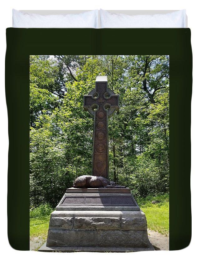 Irish Brigade Monument Duvet Cover featuring the photograph Gettysburg Irish Brigade Monument by Judith Rhue