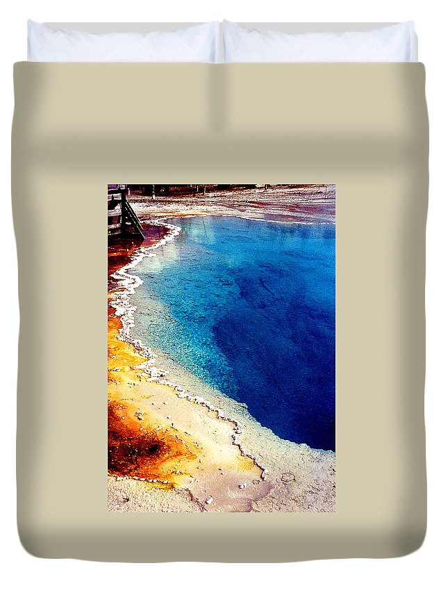 Geyser Duvet Cover featuring the photograph Geyser Basin by Nancy Mueller