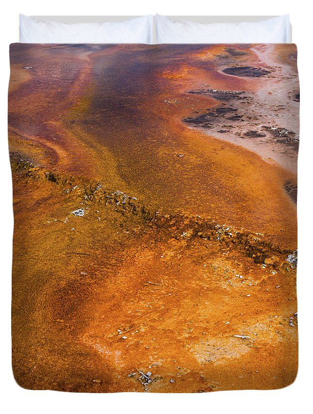 Wyoming Duvet Cover featuring the photograph Geyser Basin Springs 6 by Tracy Knauer